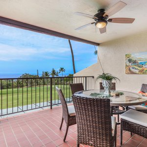 Spacious Lanai with Ocean and Golf Course Views