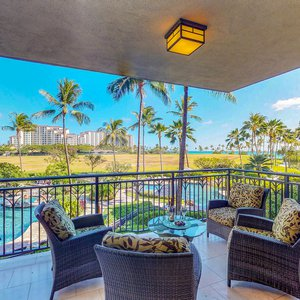 Watch your family splash around in the Lagoon Pool from the comfort of your fully furnished lanai. You can also see the ocean from here too!