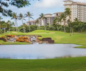 This is the 8th of the Ko Olina Golf Course with the Beach Villas in the background