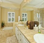 Large Master Bath with Walk-in Shower and Large Soaking Tub