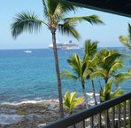 Watch the cruise ships from this lanai.
