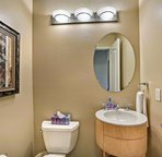 This powder room is located just off of the main living area.