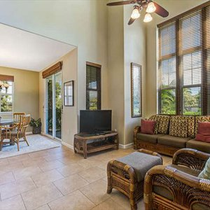 Comfortable, open living and dining area with vaulted ceilings
