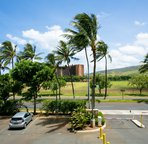 We're not trying to hide it. Here's the View of the Driveway from your Lanai... with Mountains in the Background