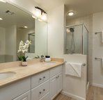 Master bathroom with dual sinks, walk-in shower
