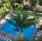 A view of the pool area from above