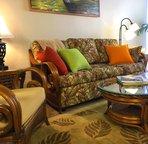 Comfortable Hawaiian furniture and soft thick-pile wool rug