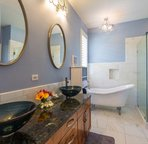 Master Bathroom with Double Sinks, Walk In Shower & Clawfoot Tub