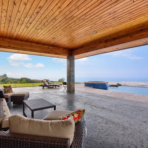 Covered Lanai, Infinity Pool and Coastline Ocean Views
