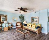 Spacious living area with futon