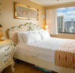 King bed with Victorian theme and excellent view