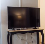 Flatscreen with cable if you want to hang out and watch the big game.