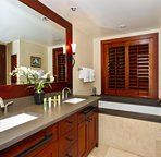 European Style Master Bath with a Walk-in Shower and a Large Soaking Tub