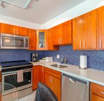 meal prep area and dishwasher provided in condo