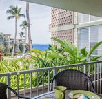 Spacious lanai with partial ocean view