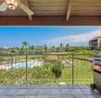 Lanai with view of the grounds and pool area