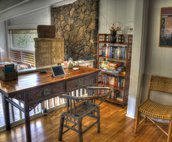 Writing desk off of dining area