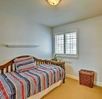 Perfect for kids, this room boasts a twin bed and twin trundle.