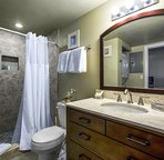 Bathroom en suite, but also accessible directly from the living room