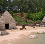 The botanical garden on the East side, Na' aina Kai has a minature (half size) replica of ancient Hawaiian village