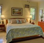 Ocean room, first floor guest bedroom, king bed, shared jack and jill bath