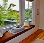 Bedroom 4 with Window Nook and View of Plunge Pool