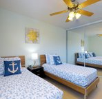 Second Upstairs Bedroom with Twin Beds and Large Flat Screen TV