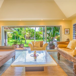 Large Livingroom with beautiful views and access to the walking path.