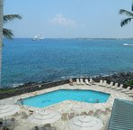 View of the ocean, spa, & pool from the lanai.
