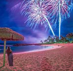 Fireworks as Seen from Lagoon 2 at Ko Olina